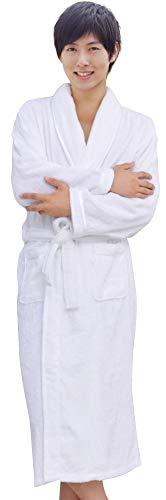 [K sera sera] バスローブ ガウン タオル地 男女兼用 綿 ホテル ルームウェア ナイトウェア プレゼント パジャマ (M, ホワイト)