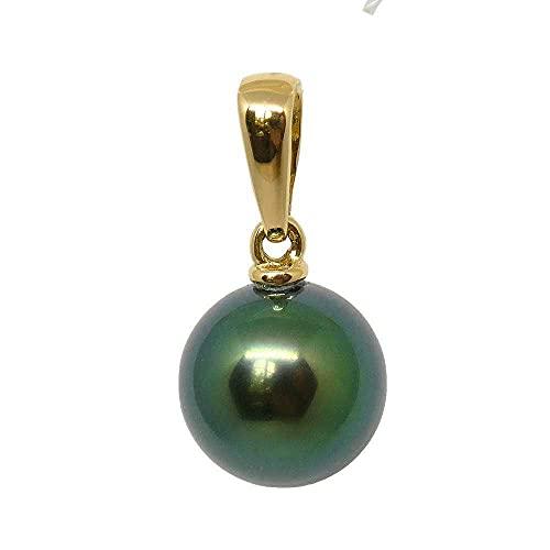 Morgane PETAH8813 - Colgante de oro amarillo 750, perla de Tahití redonda 9-10 mm
