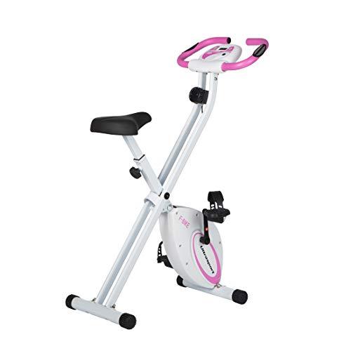 Ultrasport F-Bike, Fahrradtrainer, Heimtrainer, faltbares Fitnessfahrrad mit Trainingscomputer und Handpulssensoren, klappbar, belastbar bis 100 kg, Pink
