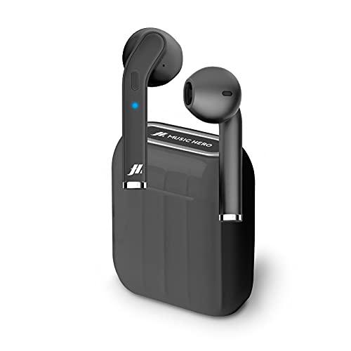 SBS Auricolari Twin Style True Wireless Stereo con Microfono e Tasto Risposta Fine Chiamata, Custodia di Ricarica da 300mAh, fino a 2.5 Ore di Ascolto Musica, Nero
