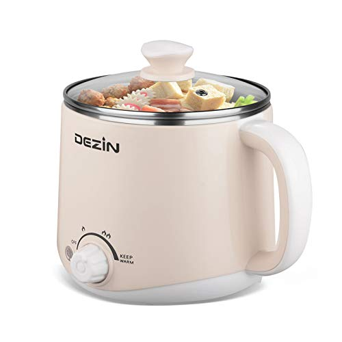 Dezin Electric Hot Pot, Rapid Noodles Cooker, Stainless Steel Mini Pot Perfect for Ramen, Egg, Pasta, Dumplings, Soup, Porridge, Oatmeal with Temperature Control and Keep Warm Feature, 1.6L, Beige