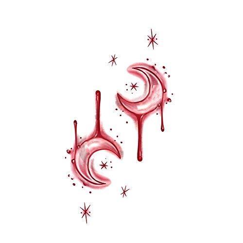 5 feuilles de cicatrice temporaire tatouages réalistes lune de sang autocollants de tatouage pour Halloween Fools Day Fête costumée