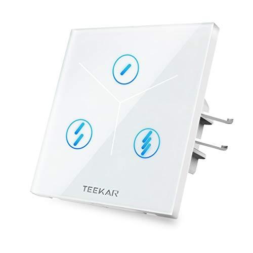 TEEKAR 【Schaltbare LED】 Zeitschaltuhr Digital WLAN Lichtschalter,Smarthome Schalter Unterputz Compatible Mit Alexa,Google Home Und IFTTT,Timing-Funktion Und APP Fernbedienung(3-Gang)