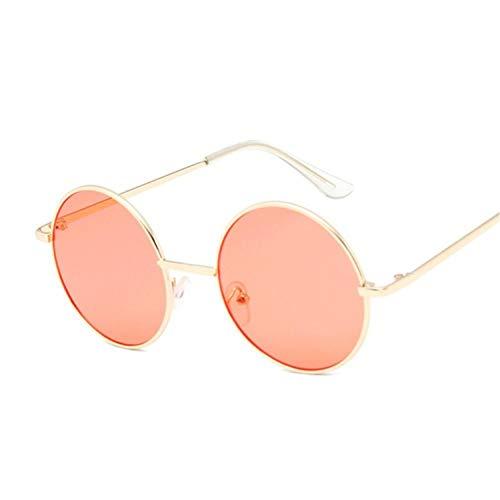 FRGH Gafas De Sol Redondas para Mujer, Marco De Metal Vintage, Lente Amarilla Rosa, Gafas De Sol De Sombra Colorida, Transparente