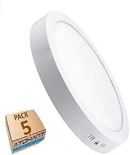 Pack 5x Plafón Downlight LED Circular 20W superficie. Color Blanco Frio (6500K). 1800 lumenes. Driver incluido. A++