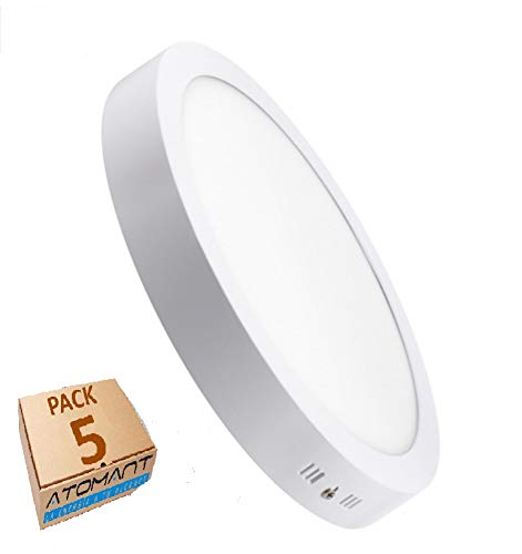 Led Atomant Pack 5X Plafón Downlight Led Redondo, 18W, Superficie, Frio 6500K. 1600 lumenes Reales A+, 18 W, Blanco Frío, 225 Mm