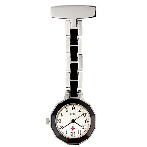 YYMY Reloj de Bolsillo con Bolsillo Clip,Mesa Colgante de Enfermera Luminosa de Alto Grado, Pecho Impermeable de Cuarzo médico-Negro