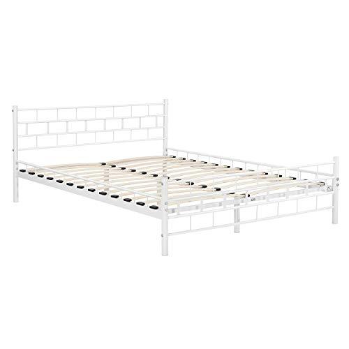 ArtLife Metallbett Malta 180 x 200 cm weiß – Bettgestell mit Lattenrost – modern & massiv – große Liegefläche - Bett