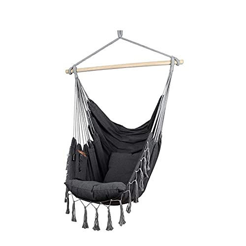 XiYou Chair Hanging Rope Swing, 2 Cushions Included-Large Hanging Chair with Pocket, Quality Cotton Weave for Superior Comfort,Durability (Grey)