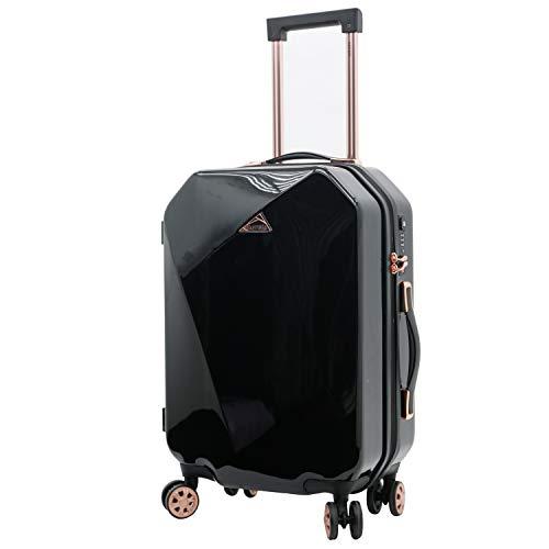 kensie Women's 2 Piece or 20' Only Shiny Diamond Luggage Set, Black, Inch
