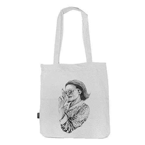 FUKO - Bolsa de tela para la Compra con Ilustración de Mujer haciendo Peineta - Tote Bag Reutilizable y Lavable de Algodón 100% Orgánico