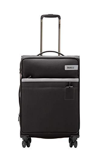 STRATIC Light Koffer weichschale Trolley Rollkoffer Reisekoffer 4 Rollen TSA-Zahlenschloss, erweiterbar, extra leicht, inkl. Einkaufsbeutel, Größe M, Black