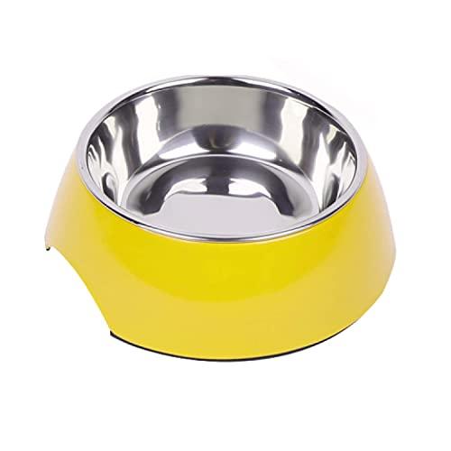 DDOXX Comedero Perro, Antideslizante | Muchos Colores y Tamaños | para Perros Pequeño, Mediano y Grande | Bol Accesorios Acero INOX-Idable Melamina Gato Cachorro | Amarillo, 160 ml