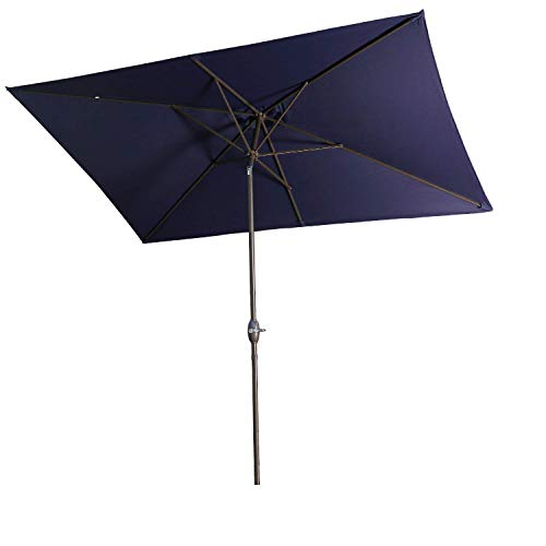 Aok Garden Outdoor Market Umbrella,10x6.5 Feet Square Patio Umbrella with Push Button Tilt and Crank Lift Ventilation,6 Sturdy Ribs Non-Fading Sunshade,Navy Blue
