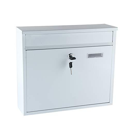 BALLSHOP Briefkasten Weiß Groß 36x31x11cm Briefkastenanlage Wandbriefkasten Postkasten Abschließbar Witterungsfest inkl. 2 Schlüssel Stahl