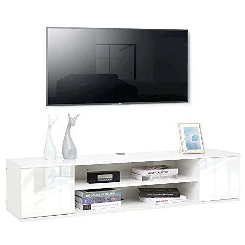 Meerviel - Meuble TV Suspendu - Meuble Télé avec 2 Etagères et 2 Portes Bois avec Rangement pour Salon Chambre, 140 x 32 x 30cm Blanc Brillant