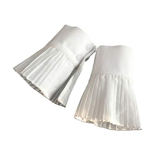 Tandou Armstulpen Pulswärmer Damen - Plissee Gefälschte ärmel Manschette Knopf Abnehmbarer Stulpen Handgelenk Pullover Bekleidungszubehör (Weiß)