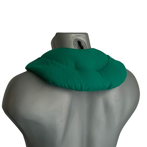 Cuscinetto ricurvo con tasca - verde - Noccioli di ciliegia - Cuscino per il collo per terapia calde e freddo (microonde, forno e frigorifero)