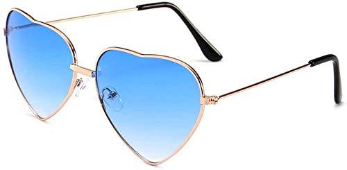 ZYIZEE Gafas de Sol Gafas de Sol Vintage en Forma de corazón para Mujer Rojo para Mujer con Lente degradada de Metal Gafas de Sol para Hombre Espejo Uv400-Azul