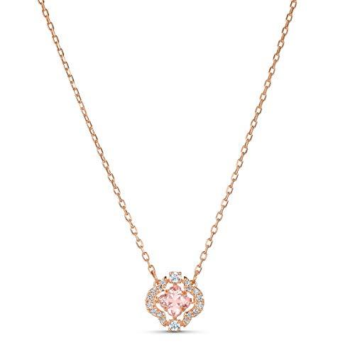 Swarovski Collar Sparkling Dance Clover, rosa, baño tono oro rosa