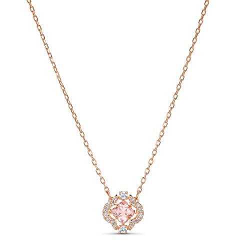 Swarovski Women's Sparkling Dance Clover Necklace, Stunning Necklace with Swarovski White and Pink Crystals, Rose-Gold Tone Plated