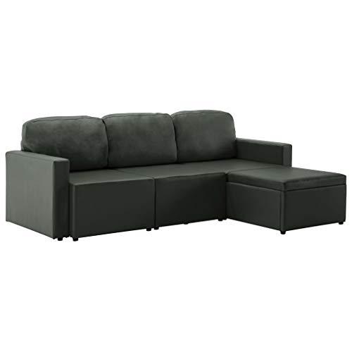 vidaXL Schlafsofa 3-Sitzer Modular Sofa Sofabett Schlafcouch Bettsofa Gästebett Polstersofa Ledersofa Couch Lounge Wohnzimmersofa Grau Kunstleder