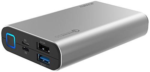 JOWAY® 10050mAh Power Bank Qualcomm Quick Charge 3.0 Externer Akku Ladegerät Akkupack kompakt für iPhone, Samsung, Huawei (Grau)