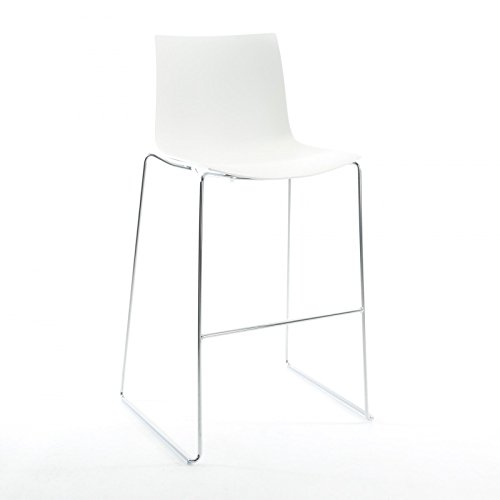 Catifa 46 0474 barkruk laag eenkleurig chroom, wit buitenschaal glanzend binnenkant mat frame verchroomd zithoogte 64 cm