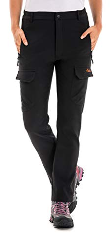 Clothin Women's Fleece-Lined Soft Shell Cargo Pants, Insulated, Water and Wind-Resistant