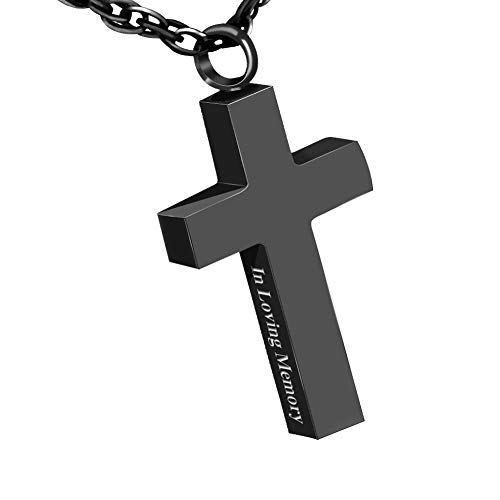 Cremation Cross Necklace for Ashes Stainless Steel Cross Urn Pendant Ashes Holder Memorial Jewelry-In Loving Memory(Black)