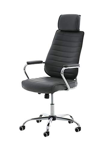 CLP Bürostuhl RAKO mit Kopfstütze und Laufrollen | Höhenverstellbarer Schreibtischstuhl mit Kunstlederbezug, Farbe:grau