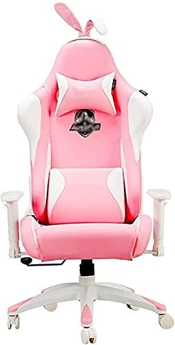 Gymqian Sillas de Escritorio Pink Girl Game Silla Silla de Juego Silla para Internet Cafés Cafés Live Broad Silla para Internet Celebrity Anchor, Silla de Estudio con un Respaldo Alto Qu