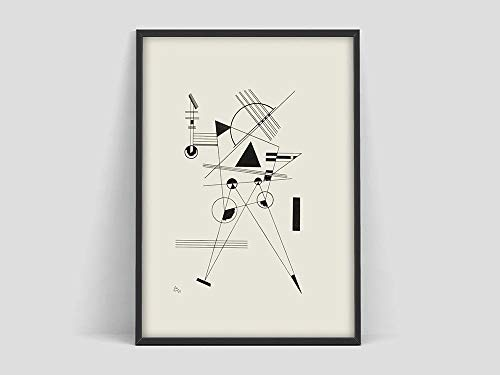 Póster de Wassily Kandinsky, póster de arte, boceto de arte en blanco y negro, impresión de arte del museo, arte abstracto, lienzo sin marco T 20x30cm