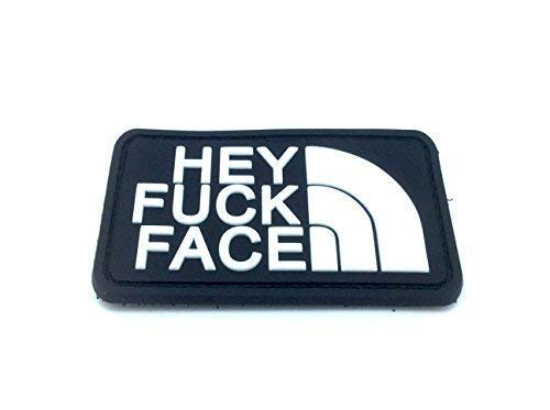 Klettband Aufnäher Hey F**k Face PVC Airsoft Schwarz Patch