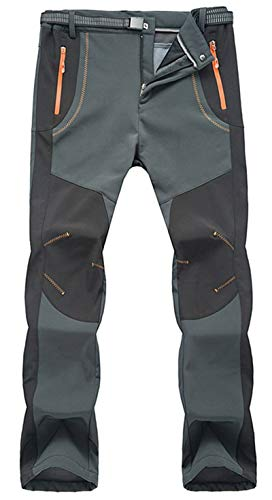 YSENTO Mens Outdoor Waterproof Hiking Pants Fleece Winter Warm Walking Climbing Mountain Ski Pants01dark greyM