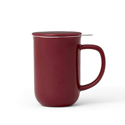 VIVA scandinavia Porzellan Tee-Tasse mit Teesieb für losen Tee und Deckel, Kaffee-Becher mit Henkel, 0,55 Liter, dunkel Rot
