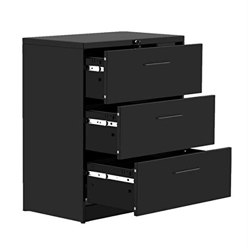 "Modern Luxe, Black 3 Drawers Lateral Metal Filing Storage Cabinet with Lock for Home Office,Anti-tilt Structure, 35.4"" L x 17.7"" W x 40.3"" H"