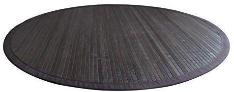 Moderner dunkler Bambusteppich COFFEE mit breiter Bordüre I Bettumrandung Läufer Schlafzimmer Küchenvorleger Flurteppich I Nachhaltiger Naturfaser Teppich von DE-COmmerce I 90 cm
