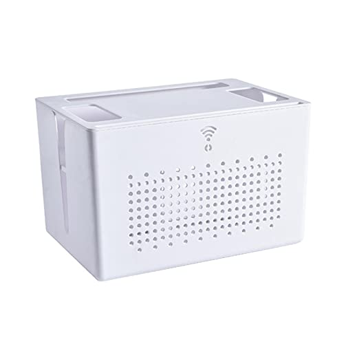 adfafw Router Storage Estante de Pared WiFi Set Rack Top Cable de alimentación Enchufe Caja de Acabado Caja de Almacenamiento de Escritorio Soporte de Pantalla multifunción para el hogar y la present