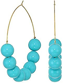 Kenneth Jay Lane Women's Large Turquoise Bead Gold Hoop Pierced Earrings