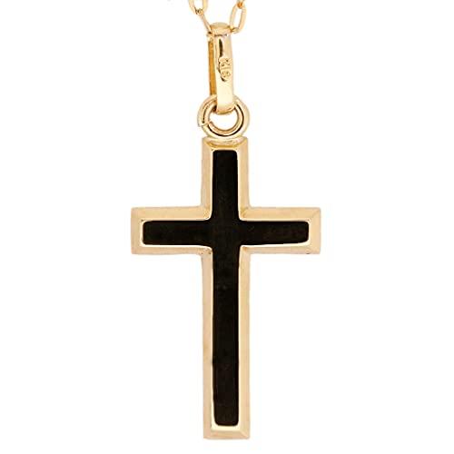 日本製 クロス 十字架 ペンダント k18 シンプル ゴールド 18k メンズ レディース 18金 チャーム アズキチェーン 長あずきチェーン トップ 小豆チェーン ネックレス