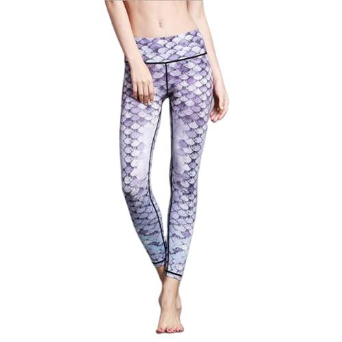 QTJY Pantalones de Yoga sin Costuras energéticos de Cintura Alta Estampados en Color Pantalones Deportivos para Correr para Mujer Pantalones de Fitness con Levantamiento de Cadera y Flexiones FL