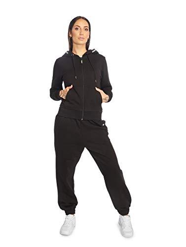 EGOMAXX DNGRS Damen Jogging Hose Sweat Suit Set Freizeit Anzug Kombi, Farben:Schwarz, Größe:34 / XS