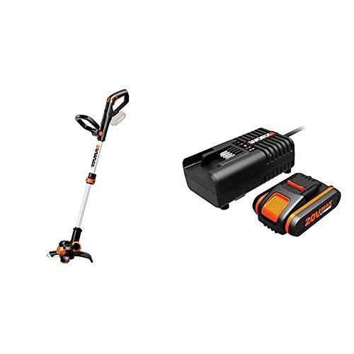 Worx WG163E.9 Decespugliatore Tagliabordi a Batteria & WA3601 Kit 1 Carica Batteria Rapido + 1 Batteria Power Share 20V/2.0Ah agli Ioni di Litio