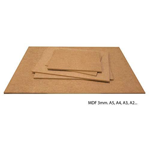 Carpintería Barús Pannello in Fibra MDF da 3mm. Legno per Pirografia, Laser, Modelli, Fai-da-Te. Scegli Misure: (A4 - Lotto di 30)