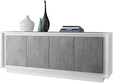Kasalinea bahut Blanc laqué Mat et Effet béton Moderne Hector-L 207 x P 50 x H 80 cm- Gris