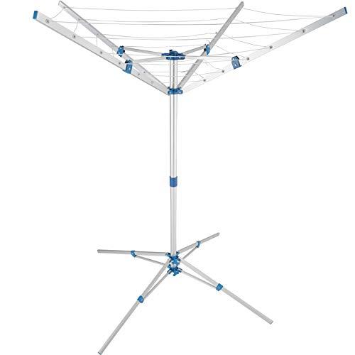 TecTake 800519 Tendedero de Ropa, Estructura de Aluminio, 4 Brazos de Apoyo, Altura Ajustable, Almacenamiento y Organización de la Colada -Varios Modelos (Tipo 2)
