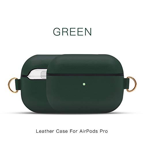 Khcr-CL AirPods Pro Schutzhülle, Echtleder Schutzhülle tragbare, stoßfeste Apple AirPods Pro-Kopfhörer (LED an der Vorderseite sichtbar) Unterstützt kabelloses Aufladen,Grün
