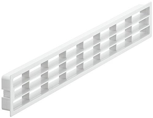 Gedotec Lüftungsgitter weiß Abluftgitter mit Rastclips & Lamellen für Zimmertüren & Wand | Belüftungsgitter eckig | 458 x 65 mm | Türgitter Kunststoff | 1 Stück - Belüftungsgitter für Holz-Türen