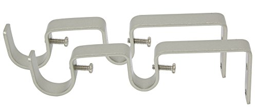 """MERIVILLE Double Curtain Rod Bracket - Designed for 1"""" Frond Rod and 5/8"""" Back Rod Double Drapery Rod, Pewter, Set of 2"""